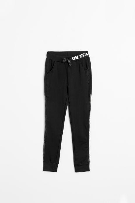 Spodnie dresowe w kolorze czarnym wiązane w pasie