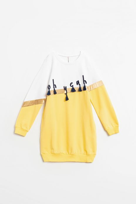 Bluza nierozpinana przedłużana w kolorze żółtym z nadrukiem