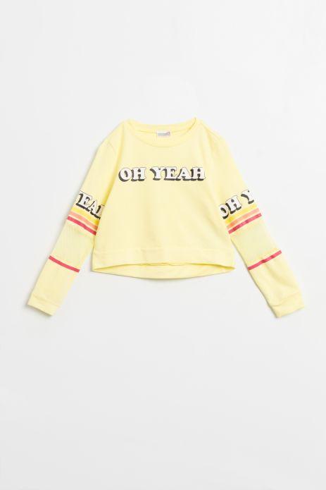 Krótka bluza nierozpinana w kolorze żółtym z napisami