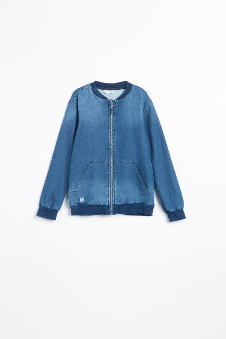 Bluza rozpinana w kolorze niebieskim z efektem sprania