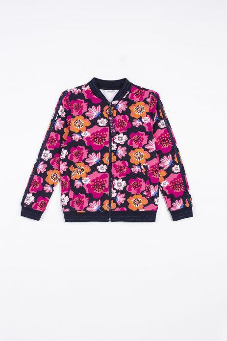 Bluza rozpinana ze stójką w kolorze czarnym w kolorowe kwiaty