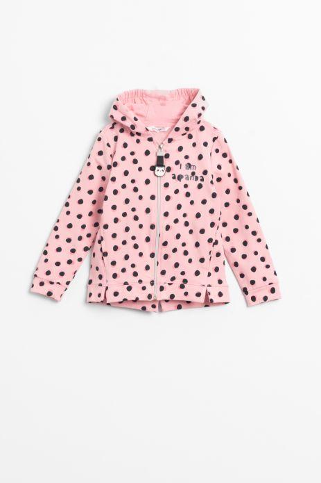 Bluza rozpinana w kolorze różowym z kapturem z nadrukiem