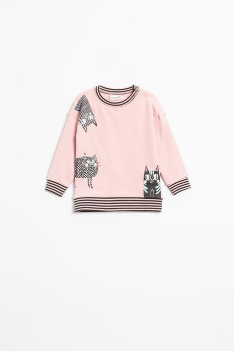 Bluza nierozpinana w kolorze różowym z nadrukiem i ozdobnymi ściągaczami