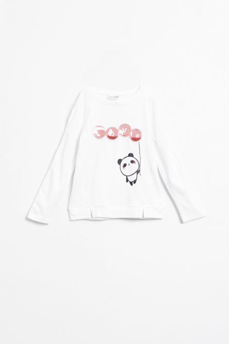 T-shirt z długim rękawem w kolorze białym z cekinową aplikacją