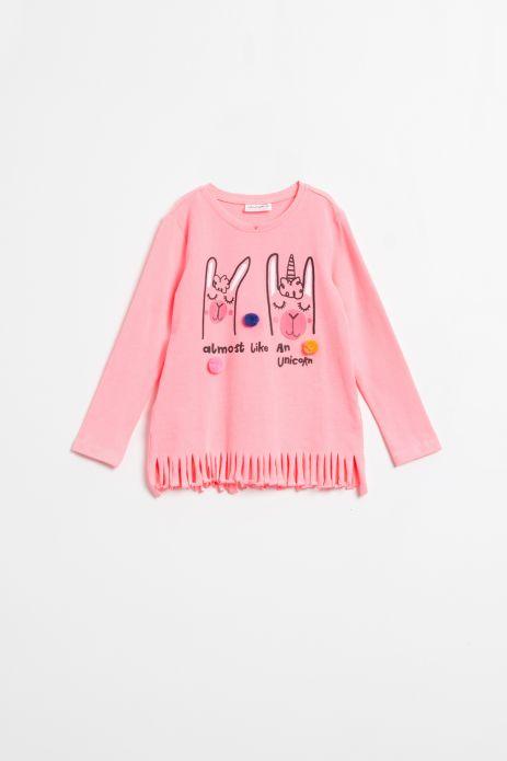 T-shirt z długim rękawem w kolorze różowym z nadrukiem i frędzlami