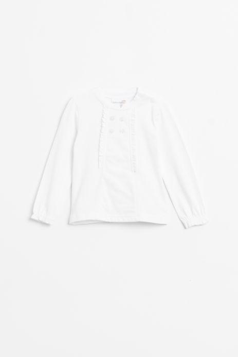 T-shirt z długim rękawem w kolorze białym wykończoną falbanką