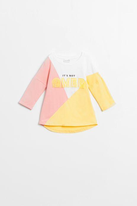 T-shirt z długim rękawem w kolorze żółtym ze złotymi pasami