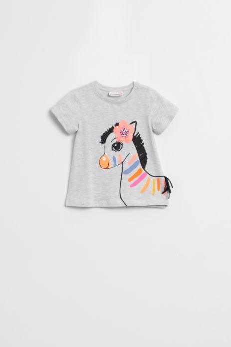 T-shirt z krótkim rękawem wykończonym falbanką  w kolorze szarym z nadrukiem