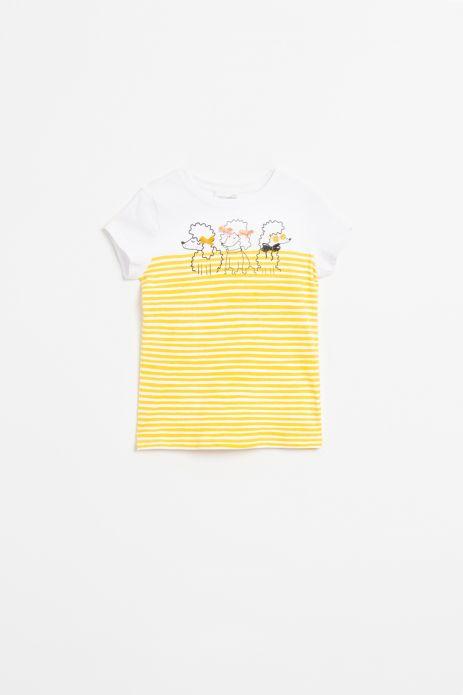 T-shirt w paski z krókim rękawem w kolorze żółtym z nadrukiem