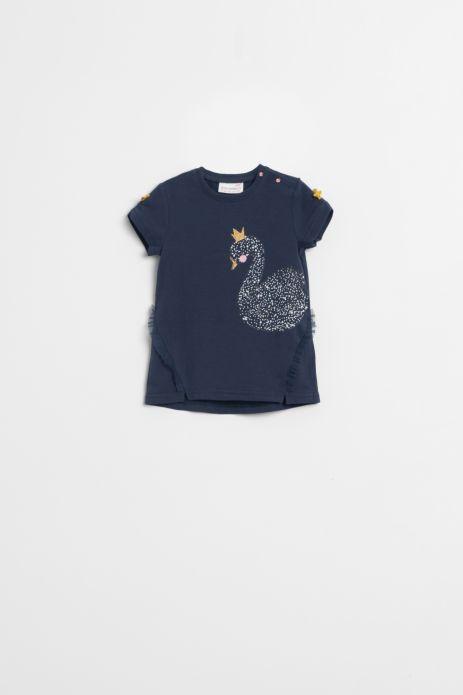 T-shirt z krótkim rękawem w kolorze granatowym z nadrukiem