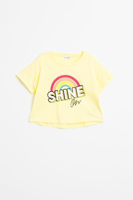 T-shirt z krótkim rękawem w kolorze żółtym z nadrukiem