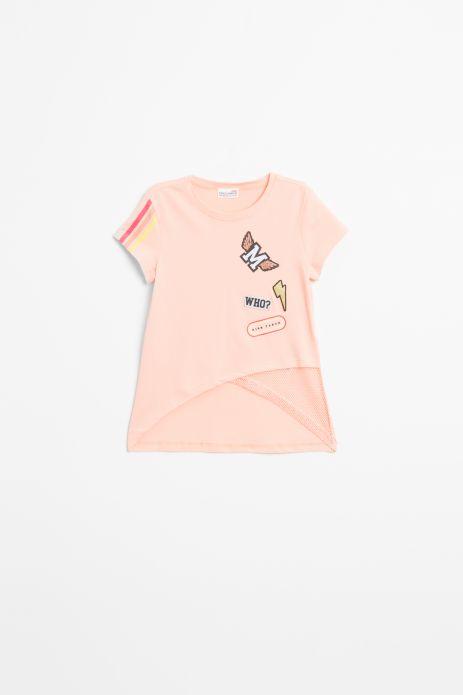 T-shirt z krótkim rękawem w kolorze łososiowym z nadrukiem